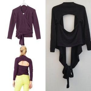 Kate Spade Black Wool Blend Wrap It Up Sweater